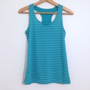 Blue Striped Racerback Workout Tank Top Small
